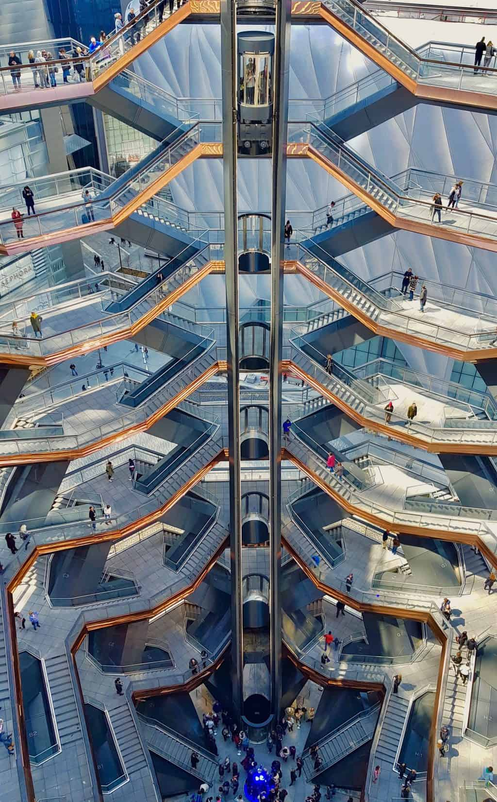 A unique look at the interior of the Vessel in NYC's Hudson Yards.