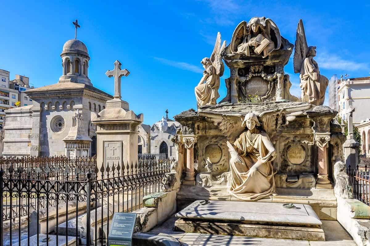 One of the ornate graves you'll find inside of Barcelona's Poblenou Cemetery.