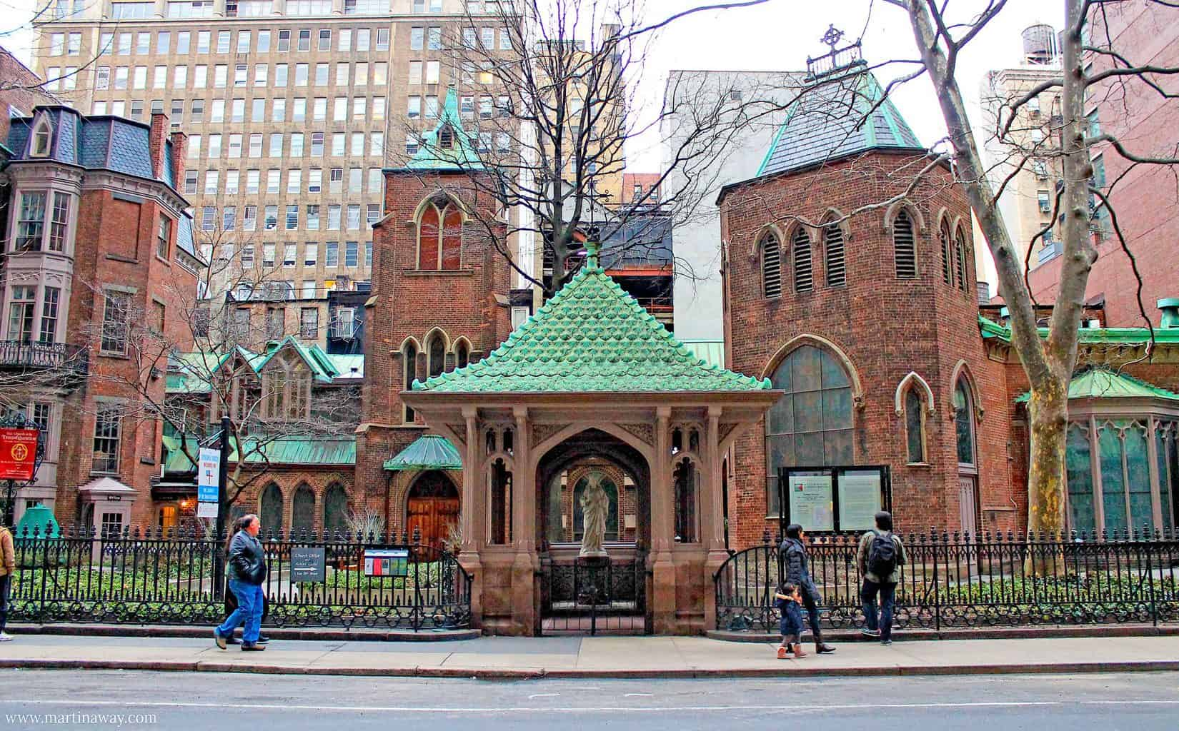 The charming, English country feel of the brick-walled, green-roofed, Church of the Transfiguration in New York City (image sourced from Flickr.com).
