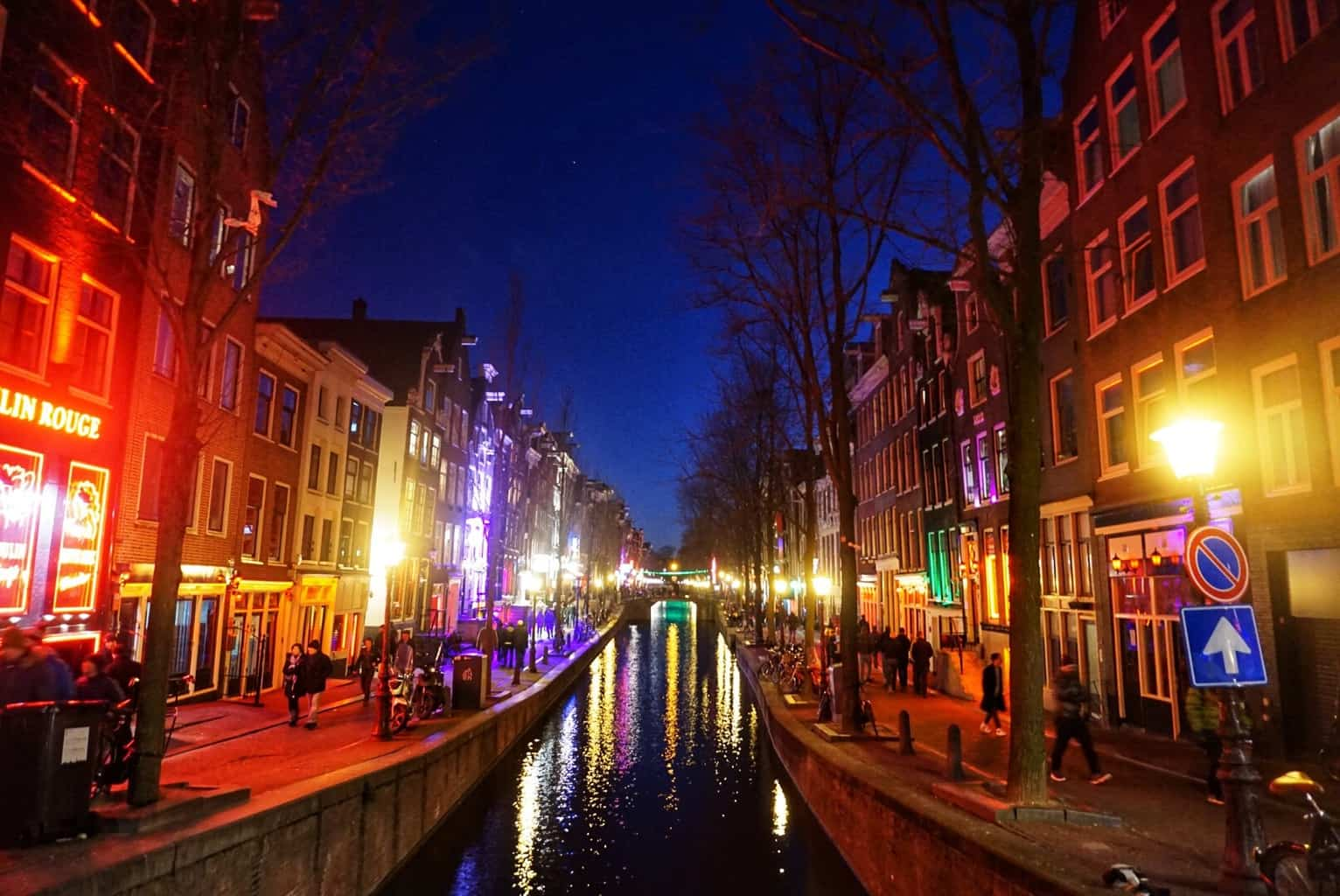 A view of the canals along Amsterdam's famous red light district.