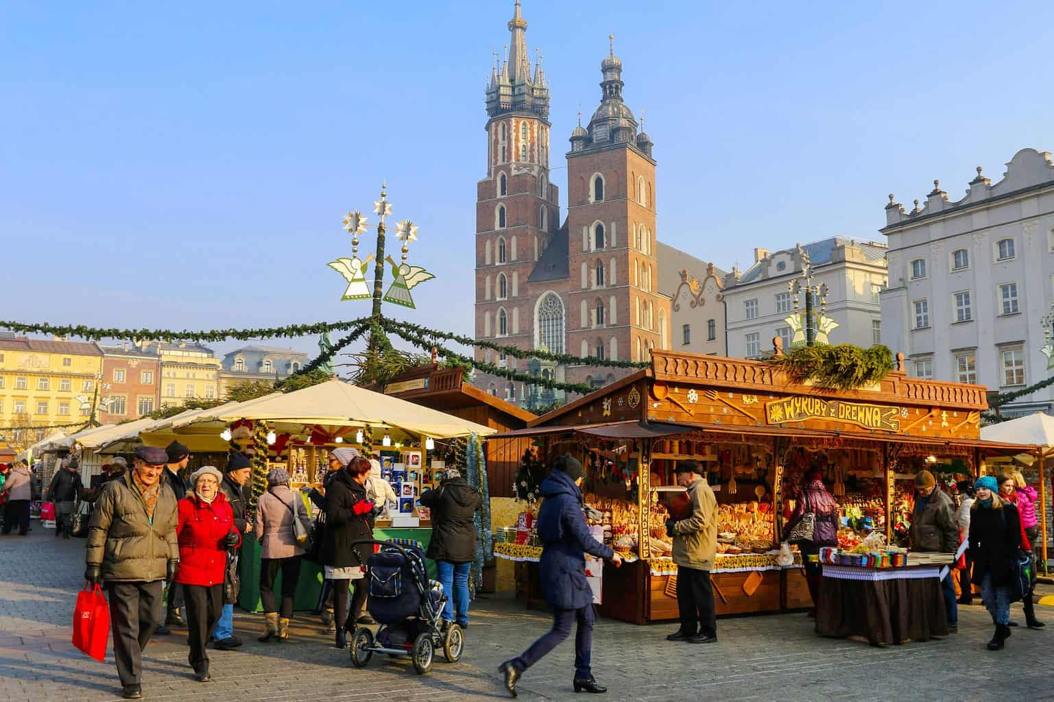 The annual Christmas fair held in the Main Market Square in Krakow, Poland. It's also one of the best places to spend Christmas in Europe.