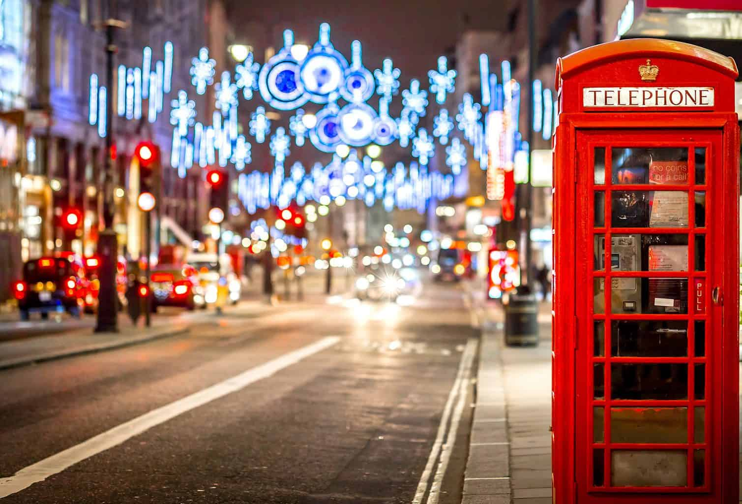 The beautiful holiday lights and iconic, red phone booths that you'll find along the high streets of London throughout the holiday season.