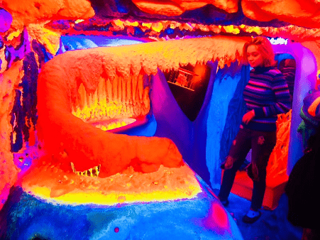 Some of the vibrant, neon-colored art you'll find at Electric Ladyland, a fluorescent art museum in Amsterdam.