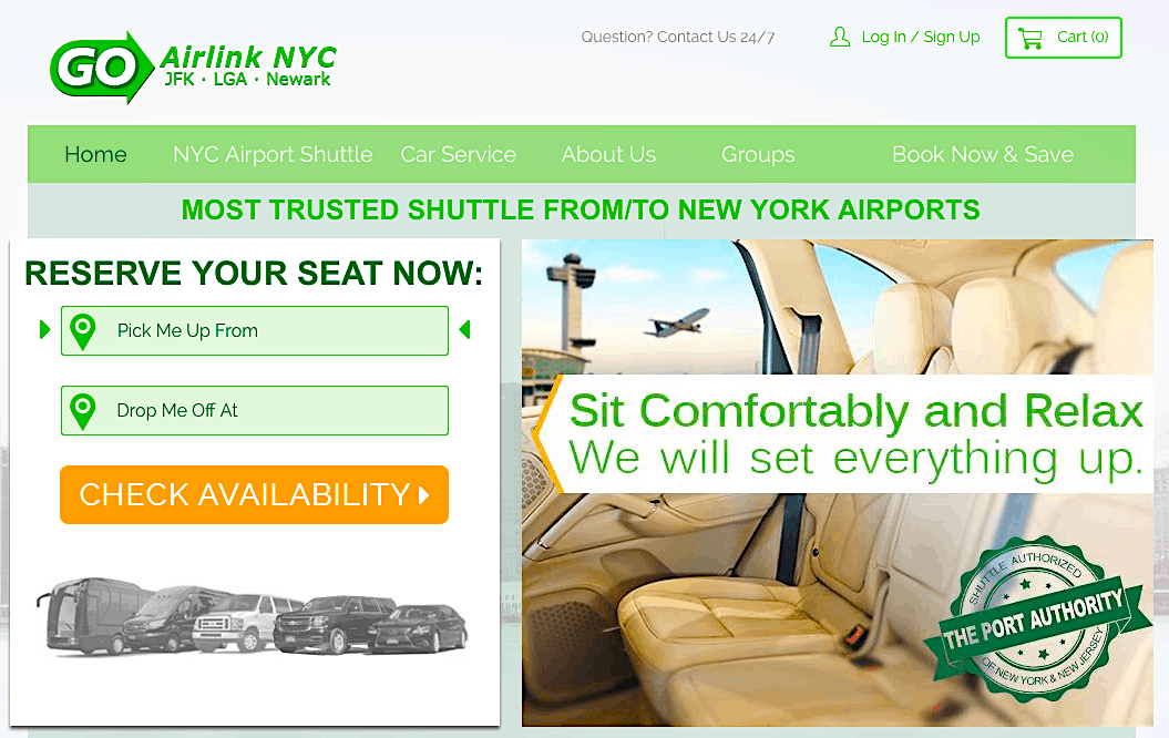 Quickly and economically use the Go Airlink Website to pre-book a seat in an airport shuttle to take you from Newark to Mahattan.