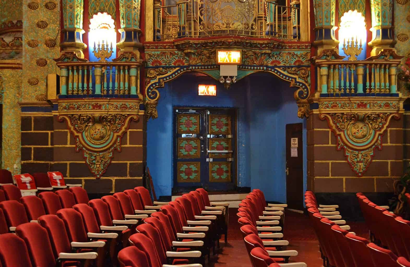 The vibrant, old-world decor of the Valencia Loews theater, which has been converted into a church in Jamaica, Queens.