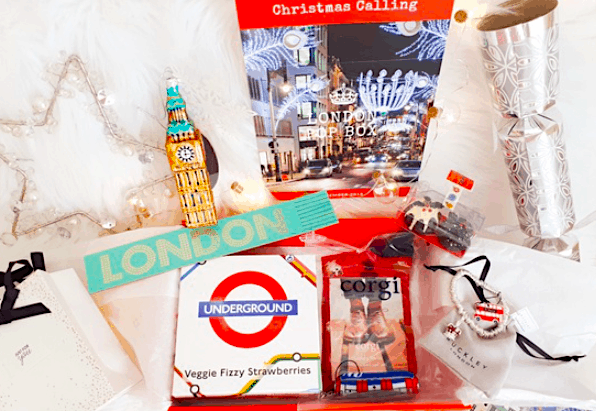 Some of the London-themed merchandise you'll receive inside your LondonPopBox.
