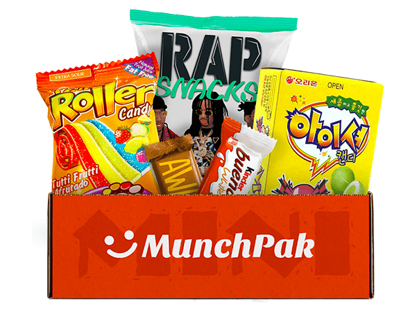 The five, full-size, international snakcs you'll receive from Munch Pak every month.