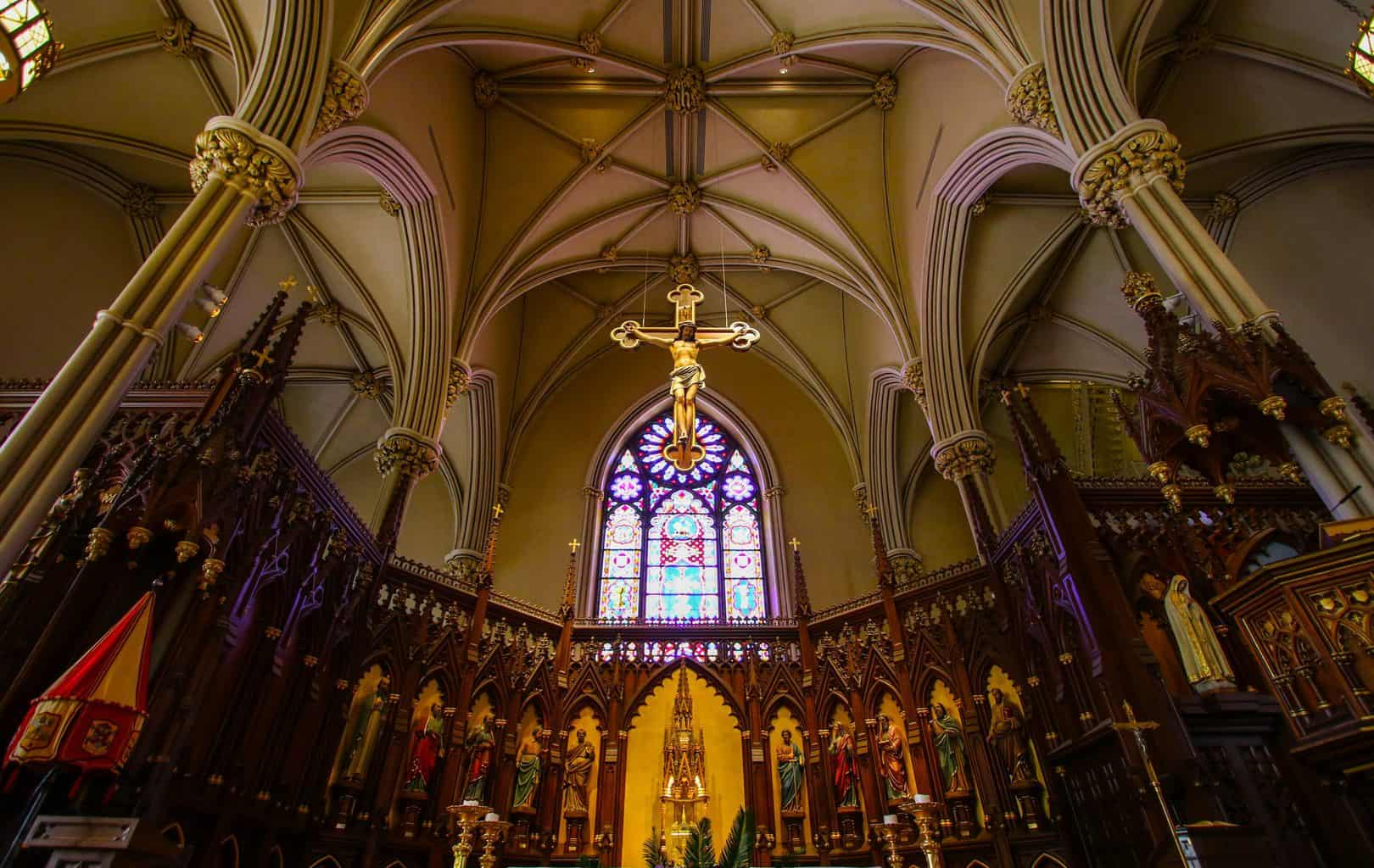 The charming, Gothic-Revival style interior of the Old St. Patrick Cathedral in New York City (image sourced from Flickr.com).