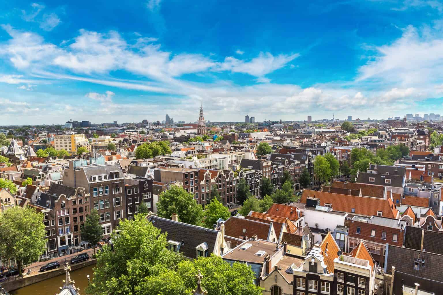 An aerial view of Amsterdam from the Volkshotel.