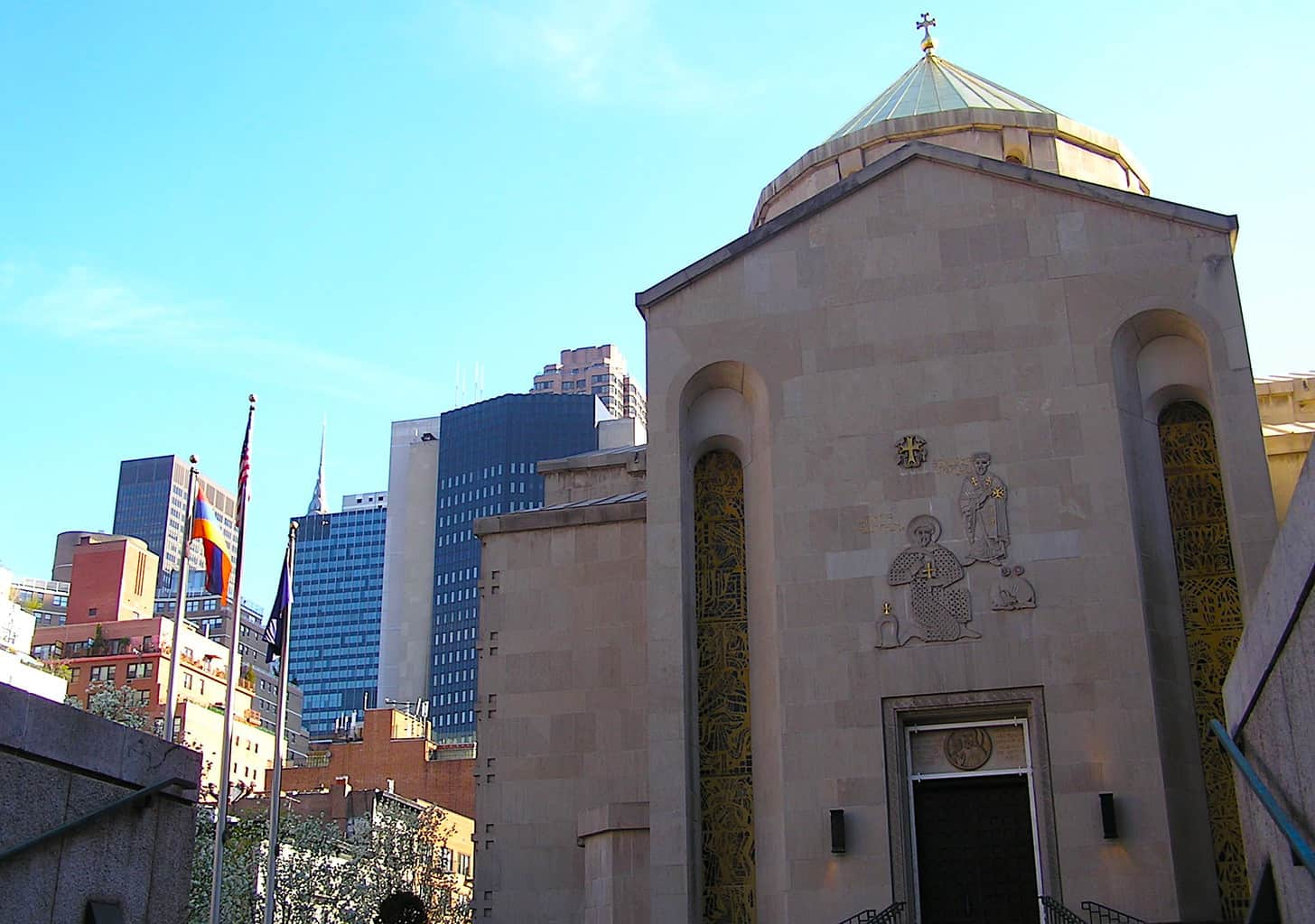 The unassuming exterior of New York City's Saint Vartan Armenian Cathedral, one of the best churches in NYC.