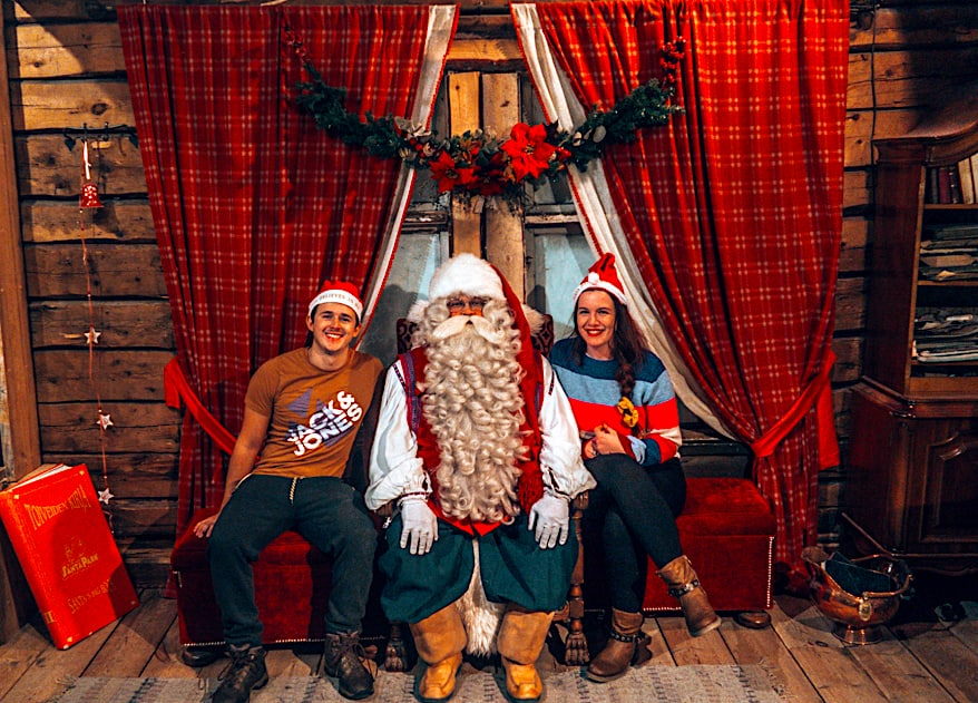 Meeting Santa at Santa Park in Rovaniemi, Finland.