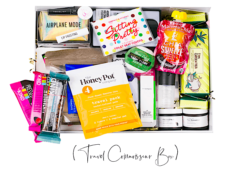 The wealth of amazing products you'll find inside the Jetsetter Chic, Travel Conossieur Box.
