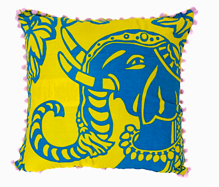 The wildly wonderful yellow and blue elephant pillow cover that Globe In sent me!