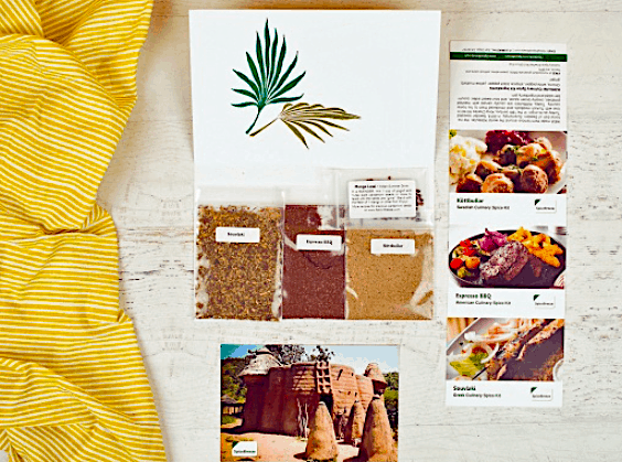 An example of the selection of fresh spices, recipe card, and global fun facts that you'll receive from a new and excitng part of the world, every single month.