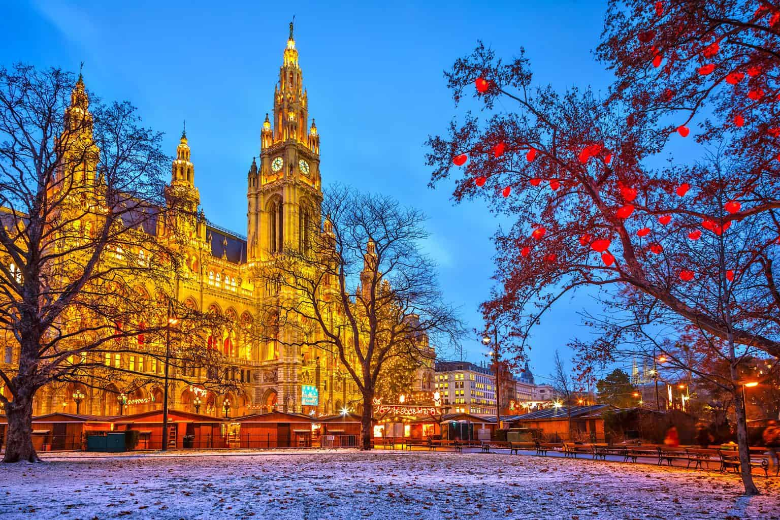 The stunning assortment of Christmas lights that you'll find outside of Vienna's town hall.