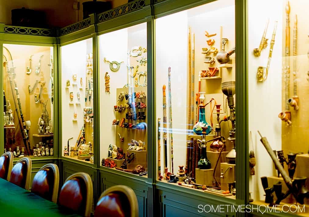 Some of the historic pipes you'll find inside of Amsterdam's Pipe Museum.
