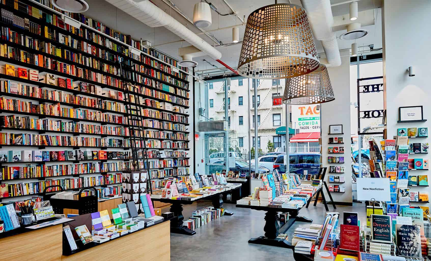 The light, bright, and welcoming interior of the Center for Fiction in Brooklyn.