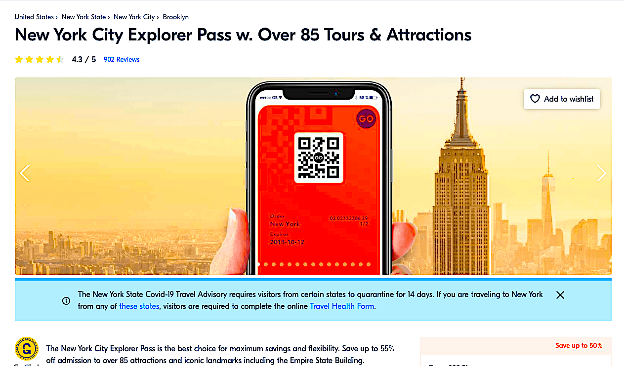 The New York City Explorer Pass is a great alternative to the New York Pass.
