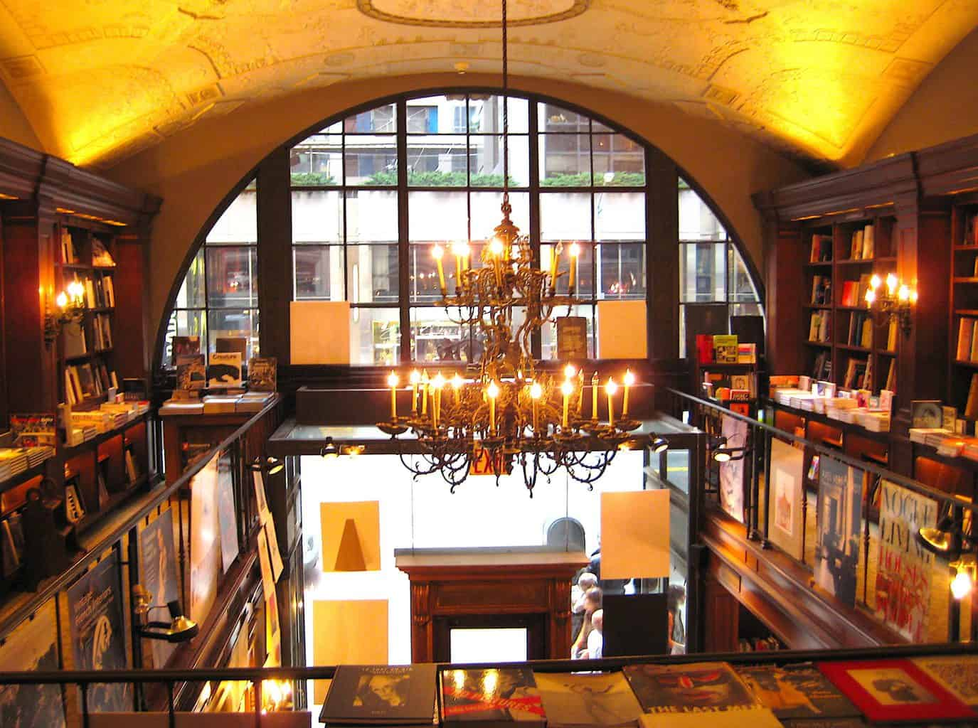 The stunning, chandelier adorned interiors of Rizzoli bookstore in Manhattan. Image taken by Angie Walls on Flickr.com.