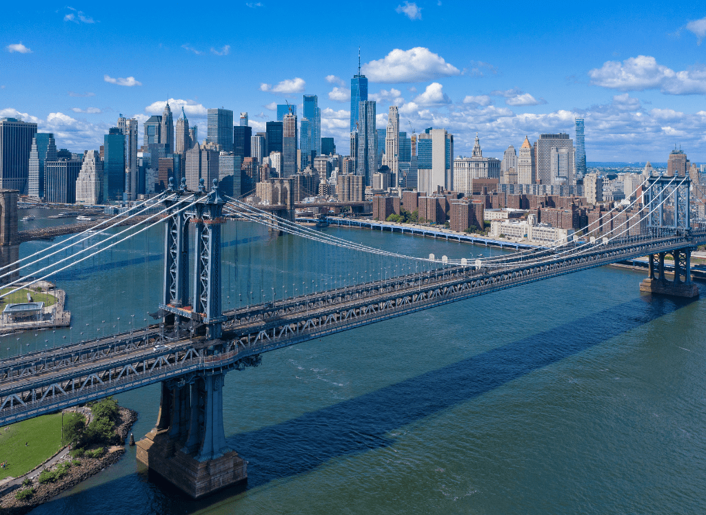 Aerial views of NYC from a helicopter.