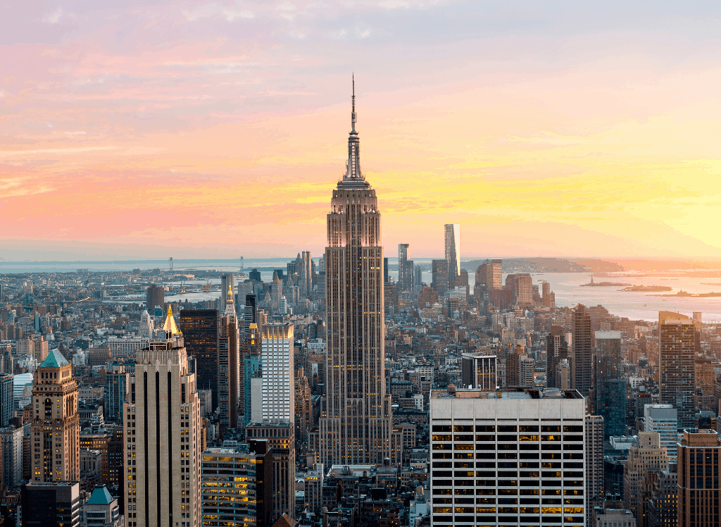 The beauty of the Empire State Building at sunset.