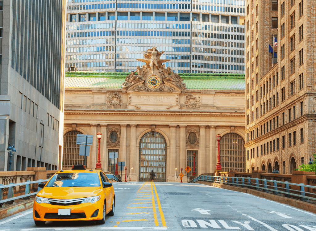 Grand Central Terminal viaduct and old entrance in New York.