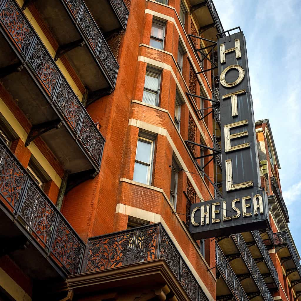 The vintage facade of the legendary Chelsea Hotel in downtown Manhattan, NYC.