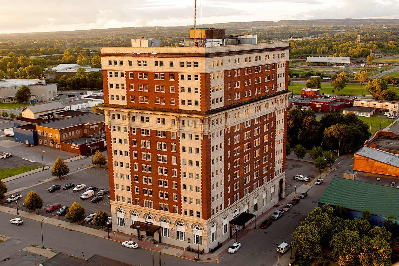 An aerial view of the luxurious Hotel Utica in Utica, NY.
