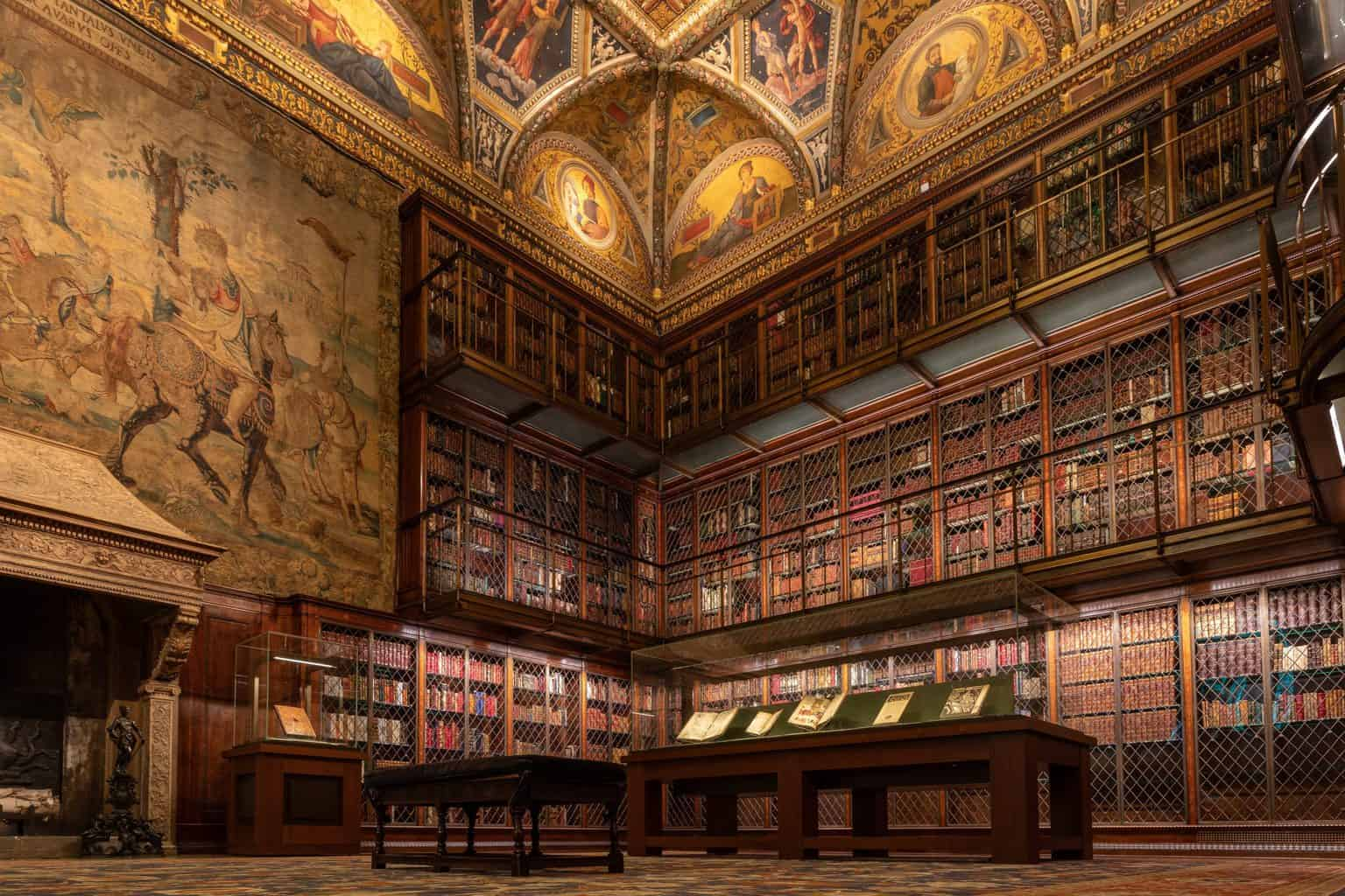 The vast antique library in the Morgan Library.