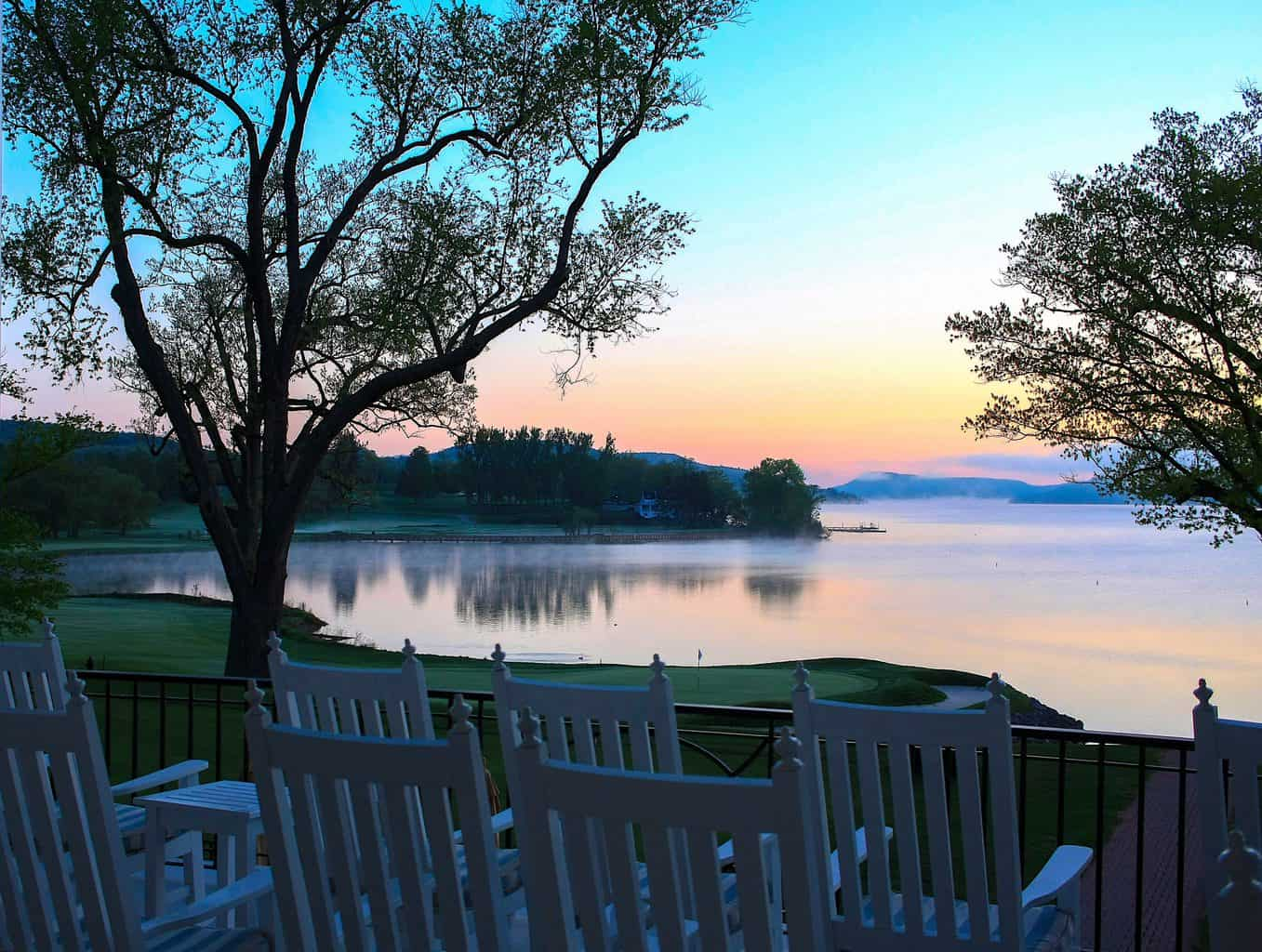 The beautiful view overlooking the lake from the back of the luxurious, Otesaga Resort in Cooperstown, NY.