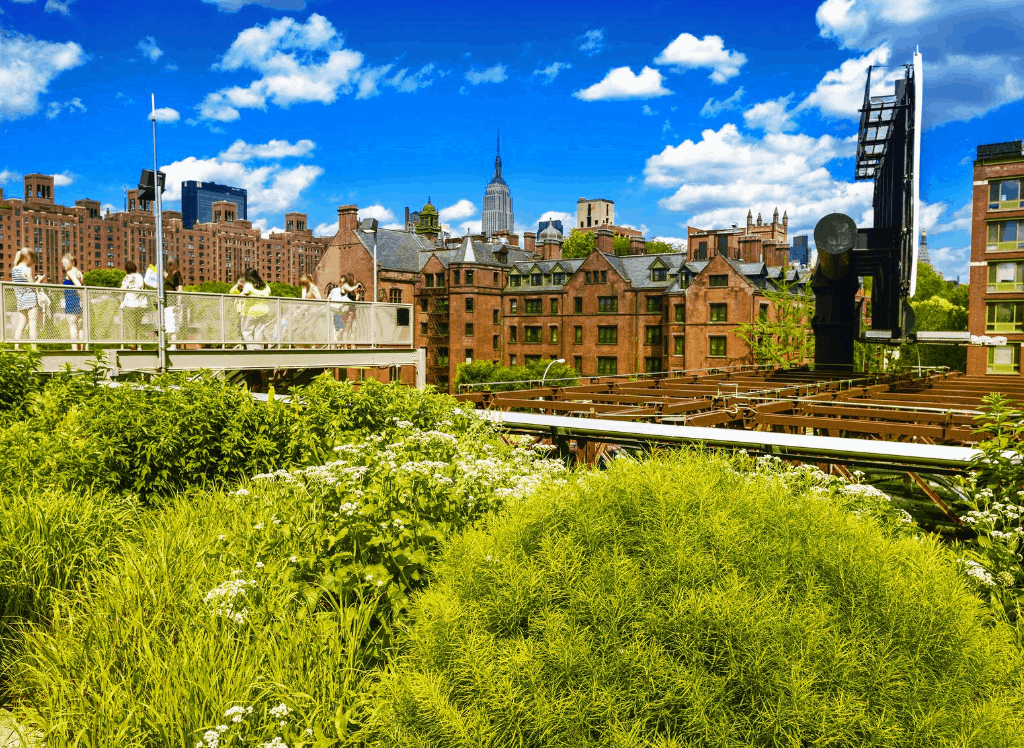 Views from NYC's famous Highline - one of the best free things to do in NYC.