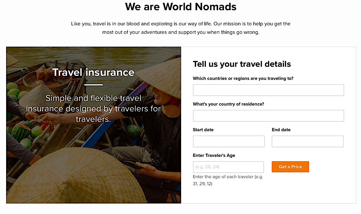 The World Nomads website where you can can a quote for travel insurance.