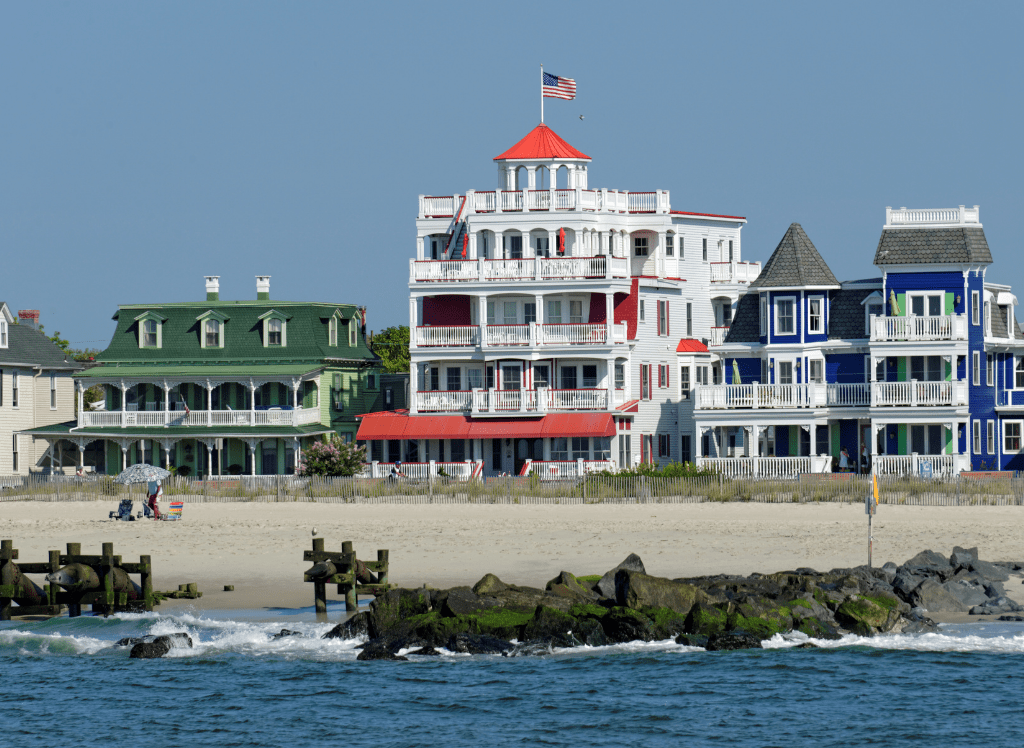 Some of the beautiful, Victorian-era homes you'll find along Cape May Beach in Cape May, NJ.
