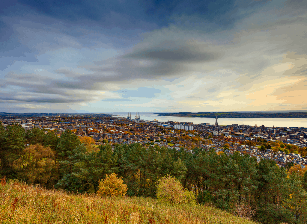 A sweeping view of Dundee, Scotland, which sits along the water and is tucked away in the northeast of the country.