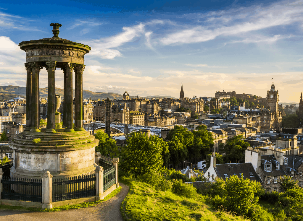 A panoramic view of Edinburgh from Calton Hill.
