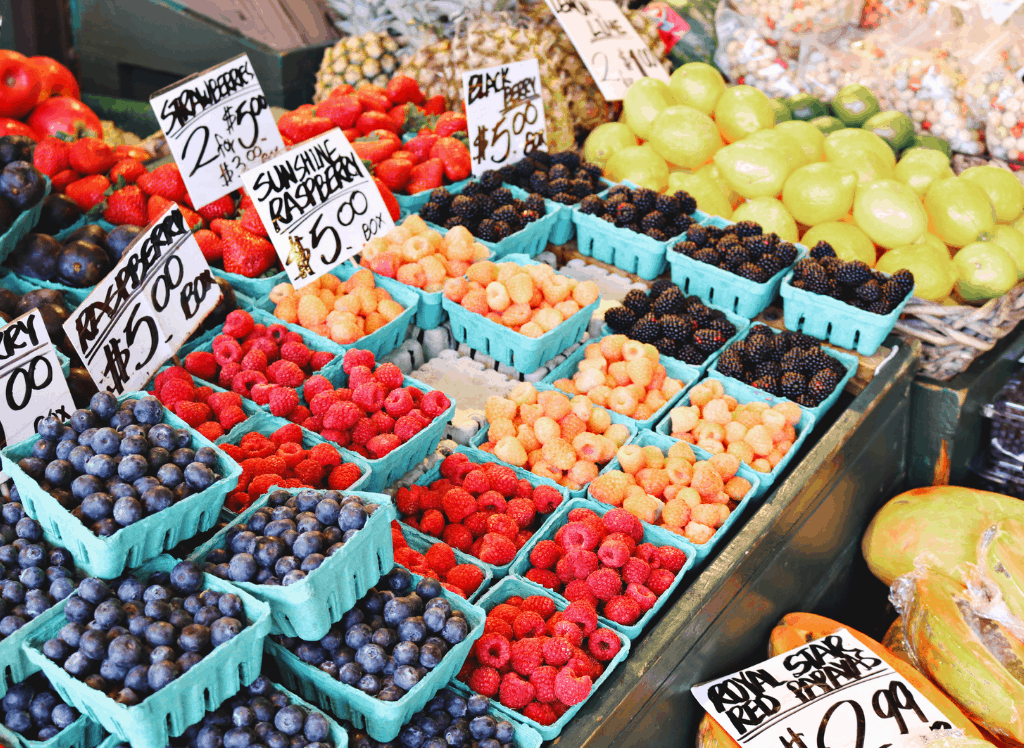 Fresh fruit for sale at the Saratoga Farmer's Market, one of the best things to do in Saratoga Springs, NY.