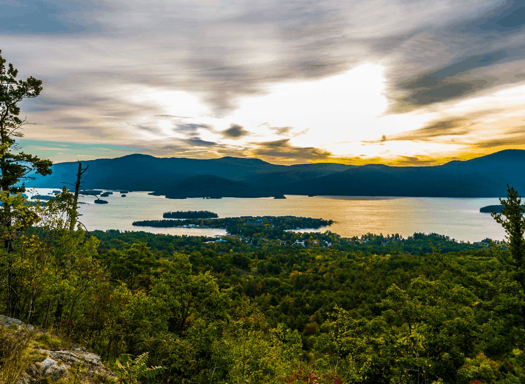 A beautiful panoramic view of Lake George in NY.