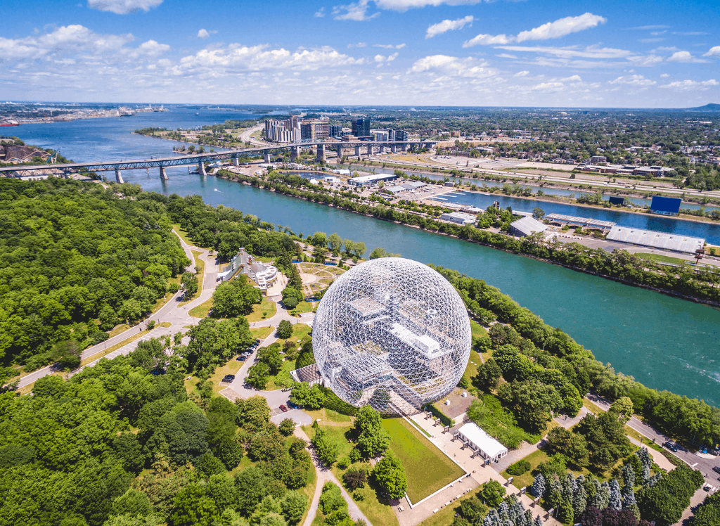 An aerial view of Montreal Canada's waterfront.