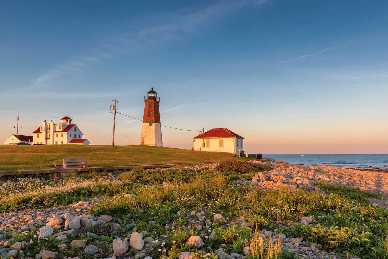The Point Judith lighthouse near Narragansett, Rhode Ialand at sunrise.