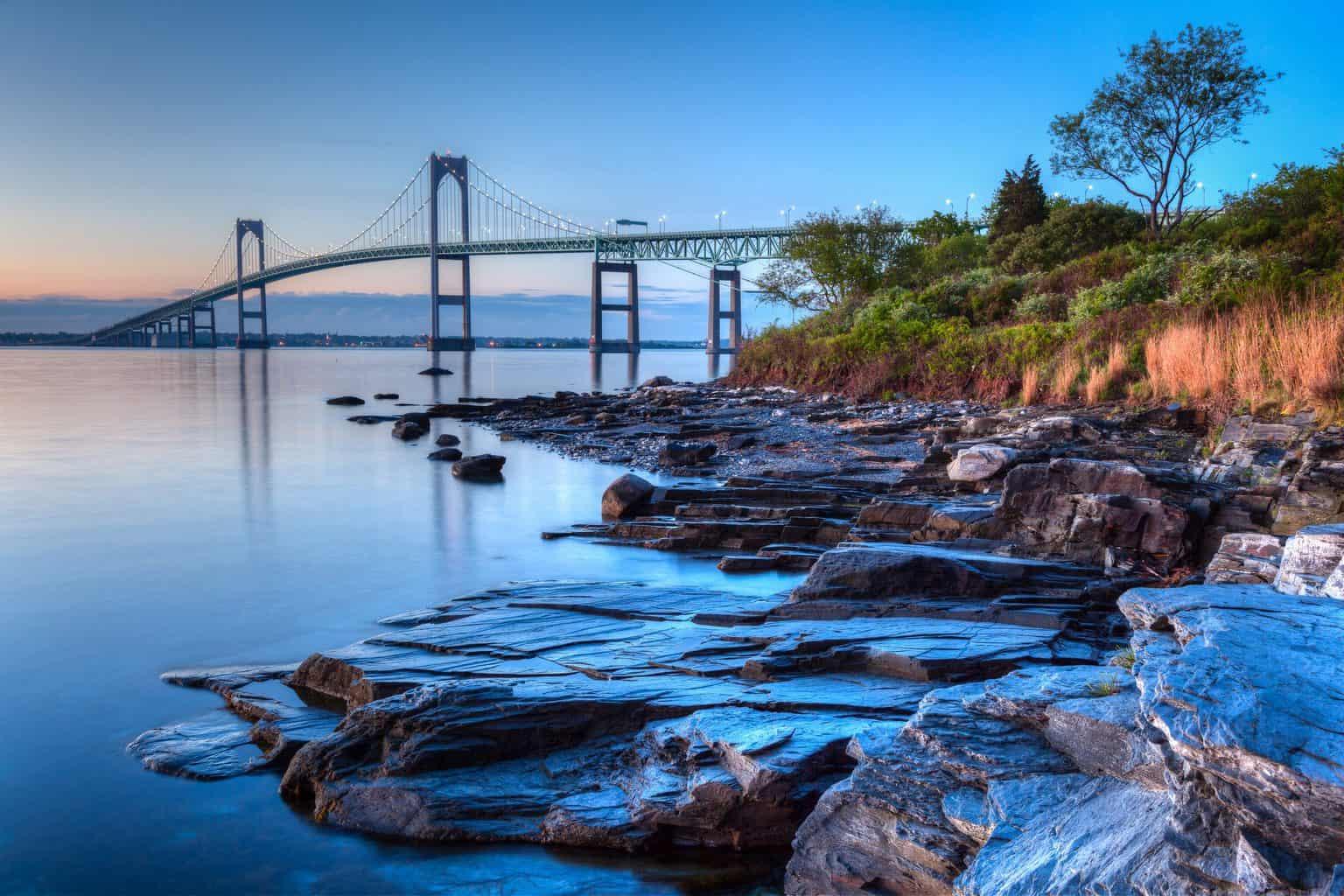 The illuminated Newport bridge from Taylor's Point near Newport, Rhode Island.