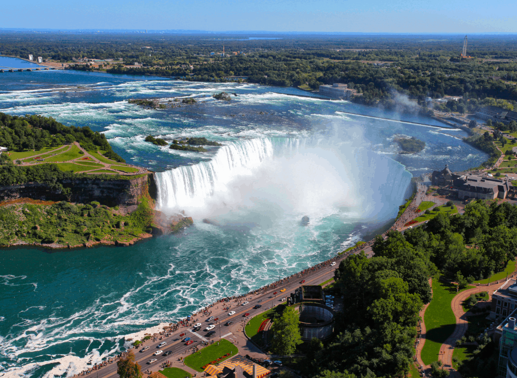 An aerial view of Niagara Falls in Buffalo NY. Easily one of the best waterfalls in NY.