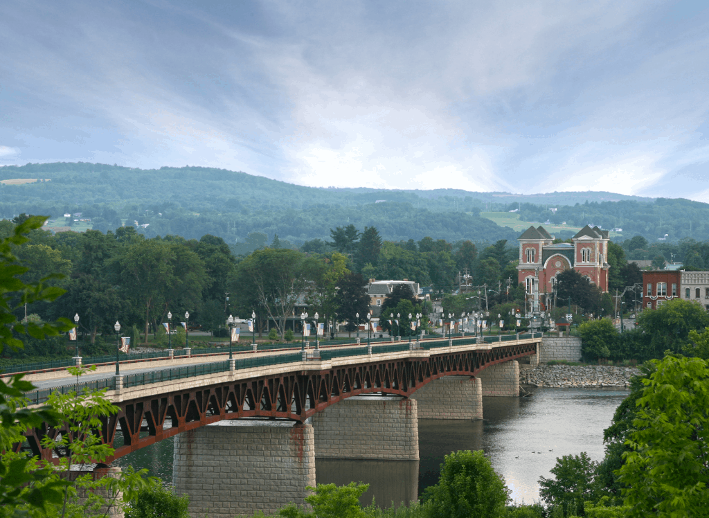 View of a bridge across the Susquehanna River in Owego, NY.
