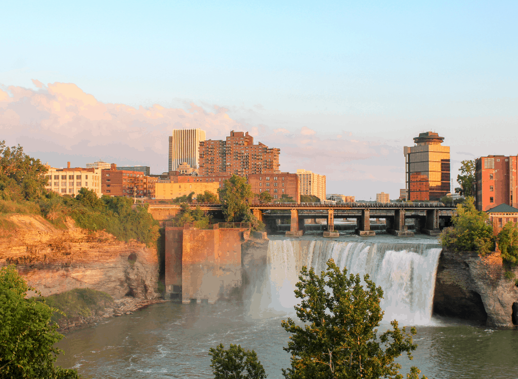 Sunset at High Falls in Rochester, NY, one of the most romantic getaways in upstate New York.
