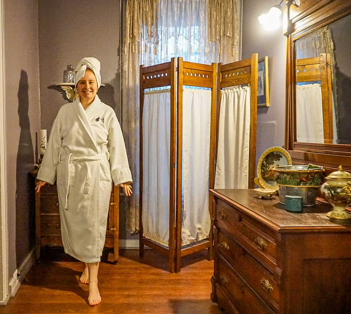 Enjoying the luxurious bathrooms and plush robes at the Fainting Goat Island Inn.