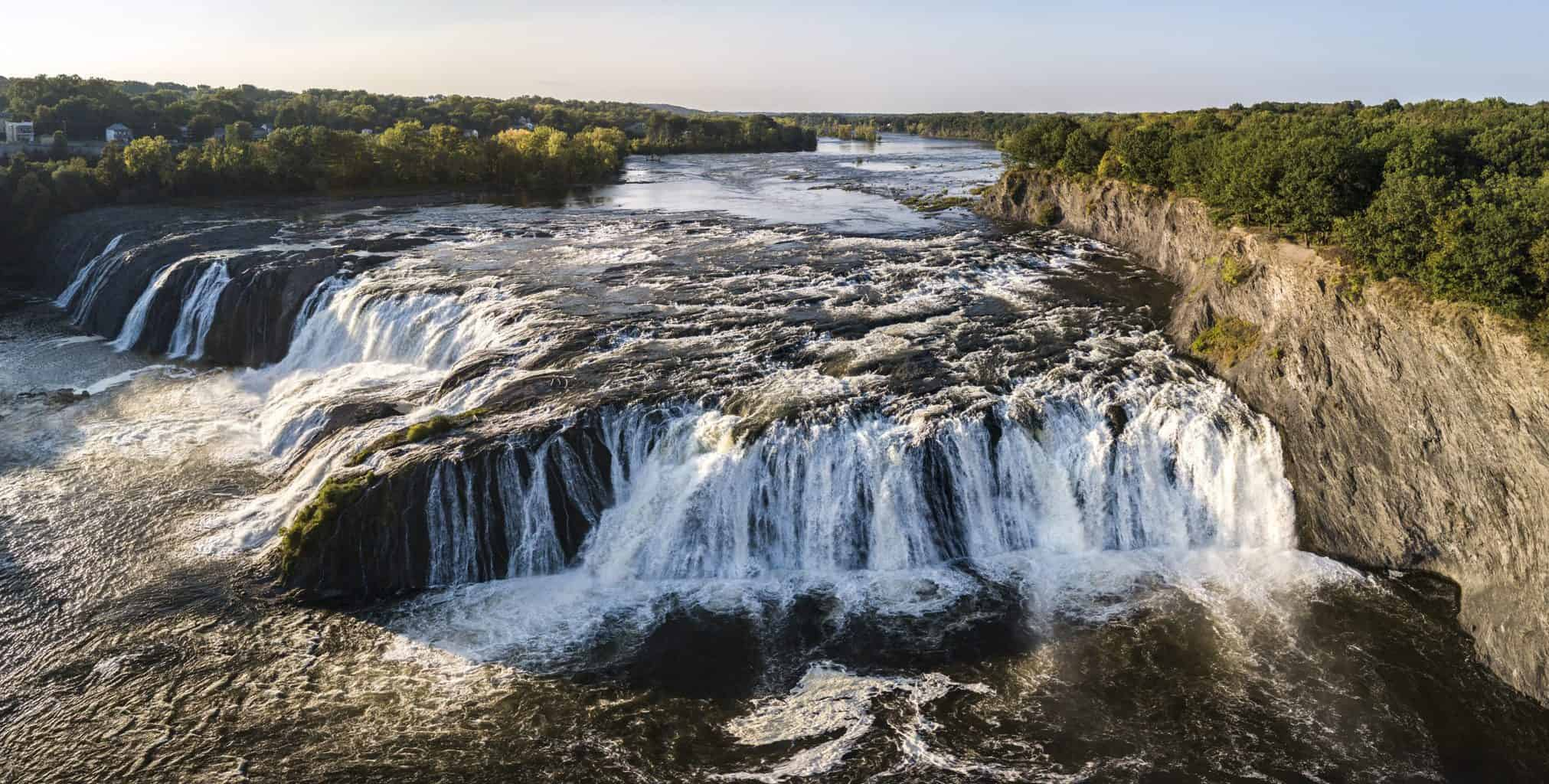 An aerial view of Cohoes Falls along the Mohawk River.