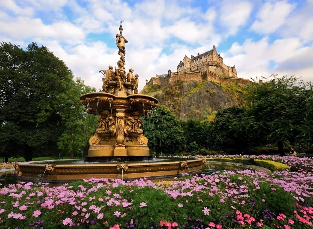 A view of Edinburgh Castle from the Princes Street Gardens.