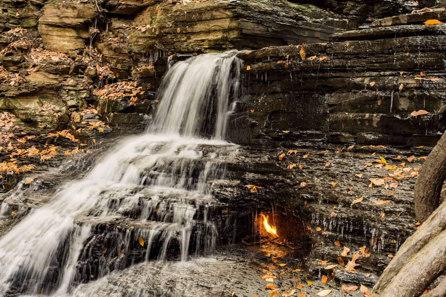 A view of the Eternal Flame Falls near Orchard Park.