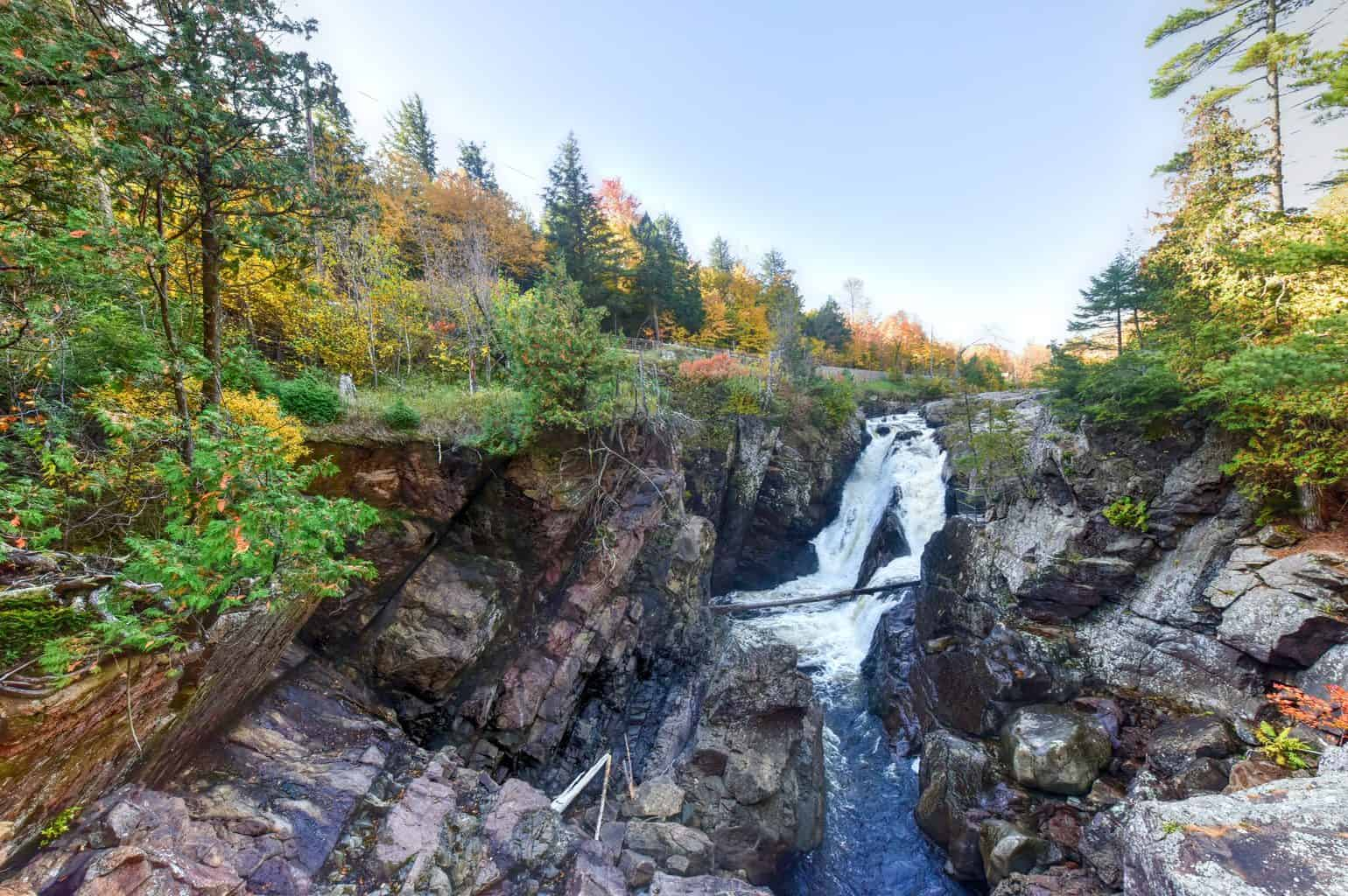 Adirondacks Peak Fall Foliage in upstate New York along the Ausable River and High Falls Gorge.