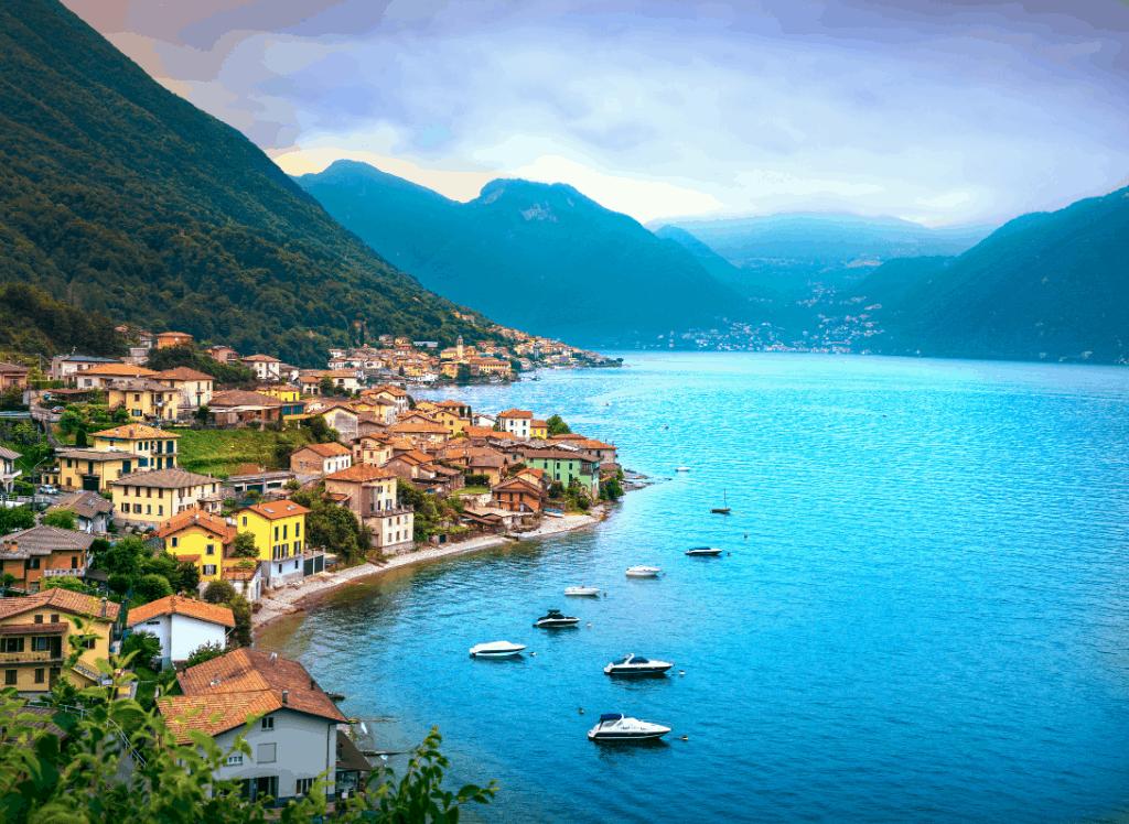 Lezzeno village in the Lake Como district of Italy.