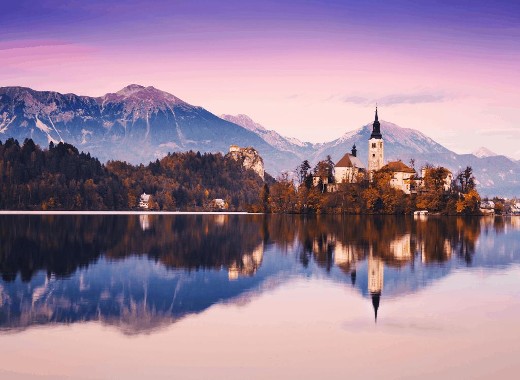 Sunset on Lake Bled in Slovenia